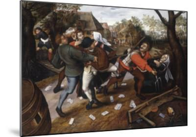 Gamblers Quarrelling-Pieter Brueghel the Younger-Mounted Giclee Print