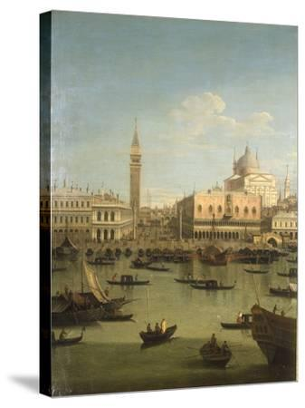 A Capriccio View of the Piazzetta with the Church of Il Redentore-Canaletto-Stretched Canvas Print