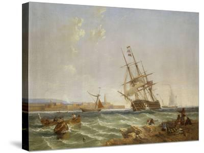 The Great Harbour of Malta from Corlandine Point, 1854-James Wilson Carmichael-Stretched Canvas Print