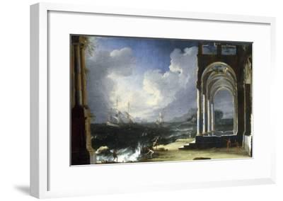 A Capriccio View with Classical Ruins by the Sea-Leonardo Coccorante-Framed Giclee Print