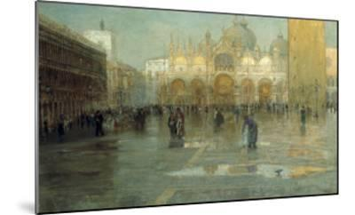 Piazza San Marco after the Rain, Venice, 1914-Pietro Fragiacomo-Mounted Giclee Print