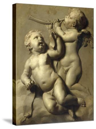 Two Putti Making Music-Marten Jozef Geeraerts-Stretched Canvas Print