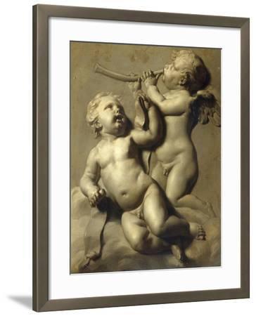 Two Putti Making Music-Marten Jozef Geeraerts-Framed Giclee Print