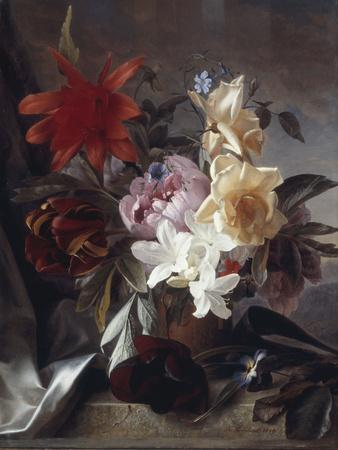 Still Life with Roses and Tulips, 1849-Theude Groenland-Framed Giclee Print