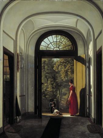The Artist's Wife and Child in the Hall of their House on the Lijnbaansegracht-Carel Hansen-Framed Giclee Print