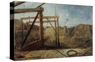 Construction of Seaham Harbour, 1830-Robert Mackreth-Stretched Canvas Print