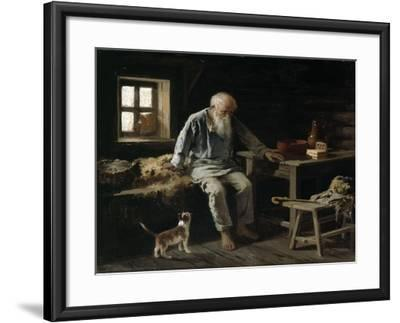 Old Man and his Cat, 1887-Ivan Andreivich Pelevin-Framed Giclee Print