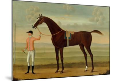 A Bay Racehorse with his Jockey on a Racecourse-Daniel Quigley-Mounted Giclee Print