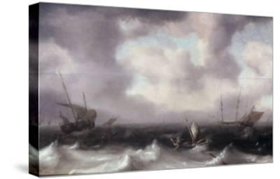 A Fishing Boat on Rough Seas with other Larger Sailing Vessels, 1633-Hendrik Van Anthonissen-Stretched Canvas Print