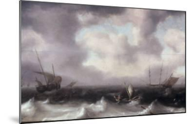A Fishing Boat on Rough Seas with other Larger Sailing Vessels, 1633-Hendrik Van Anthonissen-Mounted Giclee Print