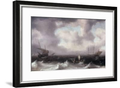 A Fishing Boat on Rough Seas with other Larger Sailing Vessels, 1633-Hendrik Van Anthonissen-Framed Giclee Print