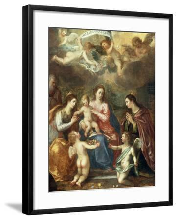 The Holy Family with St Catherine of Alexandria, two Angels and another Female Saint-Hendrik van Balen the Elder-Framed Giclee Print
