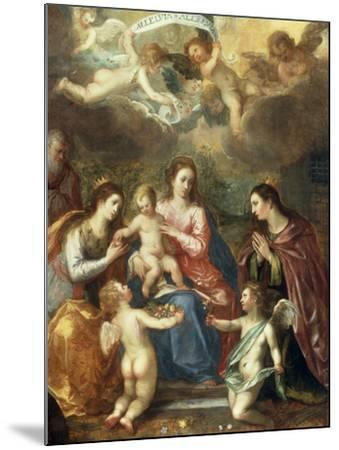 The Holy Family with St Catherine of Alexandria, two Angels and another Female Saint-Hendrik van Balen the Elder-Mounted Giclee Print