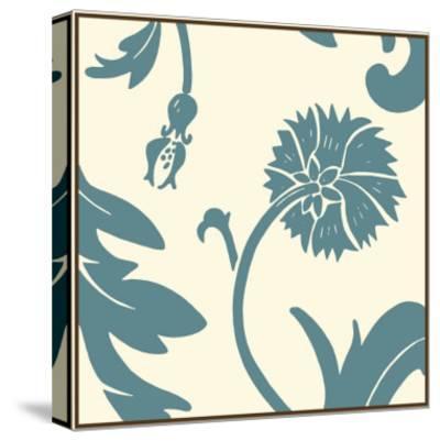 Teal Floral Motif III-Chariklia Zarris-Stretched Canvas Print