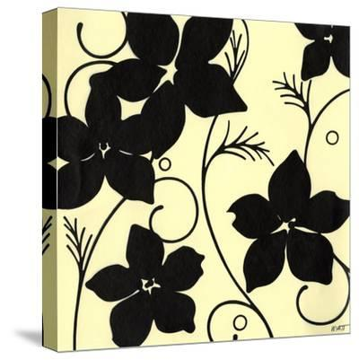 Cream with Black Flowers-Norman Wyatt, Jr^-Stretched Canvas Print