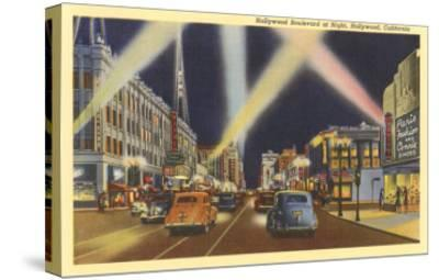 Hollywood Boulevard at Night, Los Angeles, California--Stretched Canvas Print