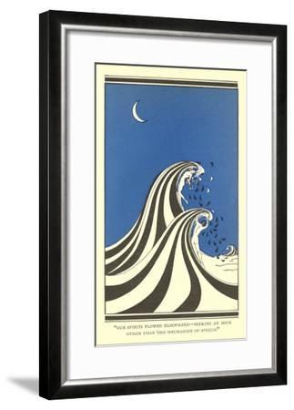 Art Deco Lovers in Waves--Framed Art Print