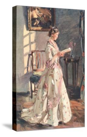 Old Fashioned Lady Reading--Stretched Canvas Print