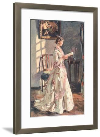 Old Fashioned Lady Reading--Framed Art Print