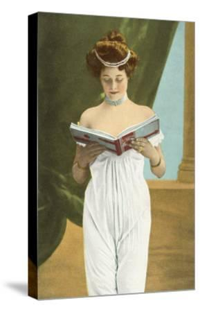 Victorian Woman Reading--Stretched Canvas Print