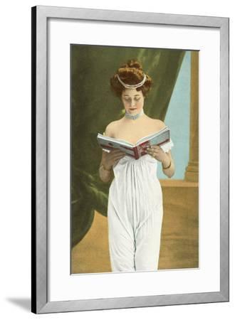 Victorian Woman Reading--Framed Art Print