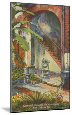 Courtyard, Claiborne Home, New Orleans, Louisiana--Mounted Art Print