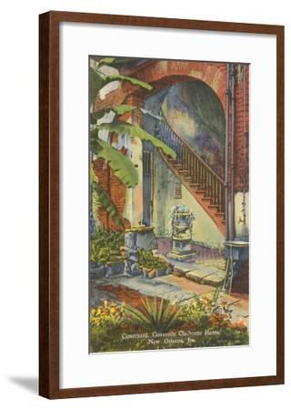 Courtyard, Claiborne Home, New Orleans, Louisiana--Framed Art Print
