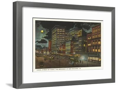 Moon over Canal Street, New Orleans, Louisiana--Framed Art Print