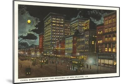 Moon over Canal Street, New Orleans, Louisiana--Mounted Art Print
