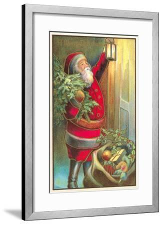 Santa Claus with Lantern--Framed Art Print