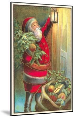 Santa Claus with Lantern--Mounted Art Print