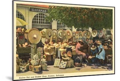 Hat and Basket Stand, Nassau, Bahamas--Mounted Art Print