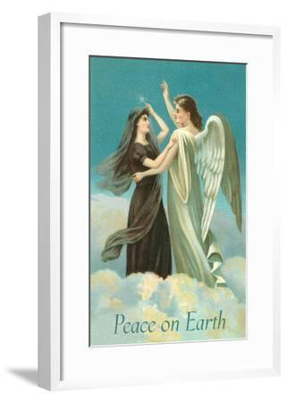Peace on Earth, Lady with Angel on Clouds--Framed Art Print