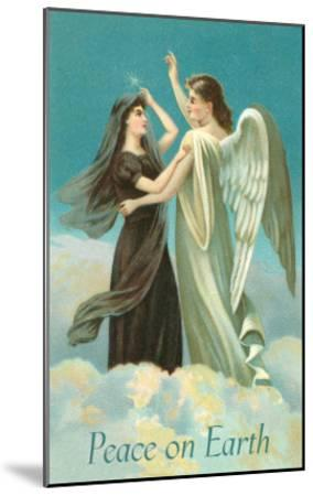 Peace on Earth, Lady with Angel on Clouds--Mounted Art Print