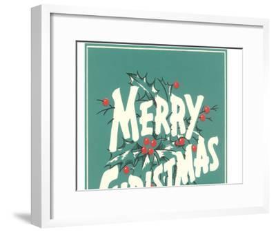 Merry Christmas, Sea Green--Framed Art Print