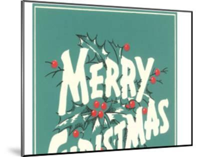 Merry Christmas, Sea Green--Mounted Art Print