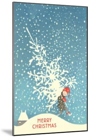 Little Boy Carrying Christmas Tree--Mounted Art Print