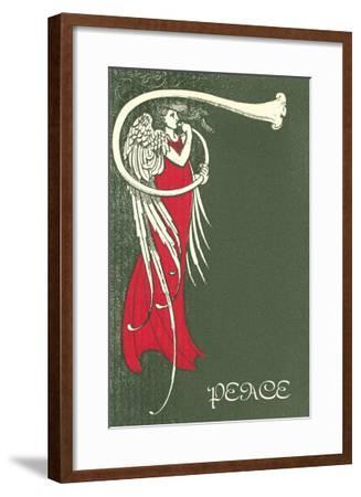 Peace, Angel Blowing Trumpet--Framed Art Print