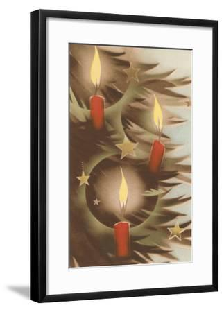 Christmas Candles on Tree--Framed Art Print