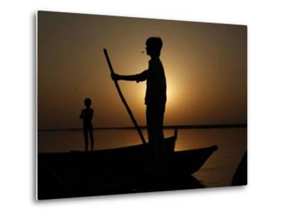 Boatman Prepares to Anchor His Boat, after the Day's Work in River Ganges, in Allahabad, India--Metal Print