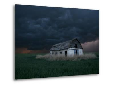 Old Barn Stands in a Wheat Field as a Thunderstorm Passes in the Distance Near Ogallah, Kansas--Metal Print