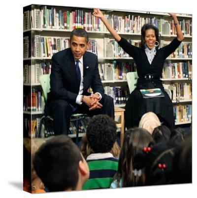 Before President Barack Obama and Wife Read to Second Graders at Capital City Public Charter School--Stretched Canvas Print