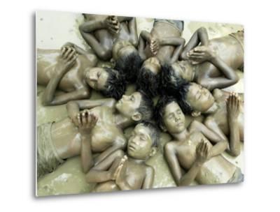 Children Lie in Sludge as a Ritual to Induce Rain in Nari Bari, India--Metal Print