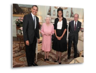 President Obama and His Wife Pose with Queen Elizabeth II and Prince Philip, During an Audience at --Metal Print