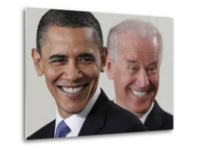 President Barack Obama and Vice President Joe Biden in the East Room of the White House--Metal Print