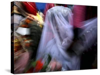 Bride Sits Next to Groom During a Mass Marriage Ceremony for About 50 Couples in Amritsar, India--Stretched Canvas Print