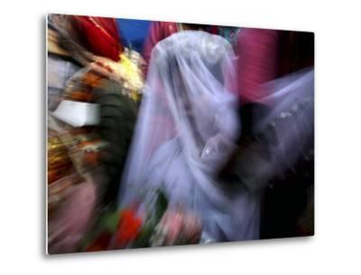 Bride Sits Next to Groom During a Mass Marriage Ceremony for About 50 Couples in Amritsar, India--Metal Print