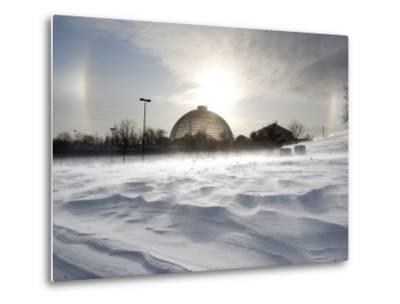 Sun Dog Forms Above the Desert Dome at Omaha's Henry Doorly Zoo, in Omaha, Nebraska--Metal Print