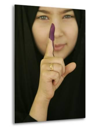 Young Girl Shows Her Inked Finger, Even Though She Was Too Young to Vote, in Karbala, Iraq--Metal Print