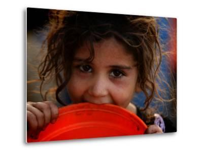 Afghan Refugee Child Who Lives in Slum Area of Lahore City in Pakistan Waits to Get Water--Metal Print